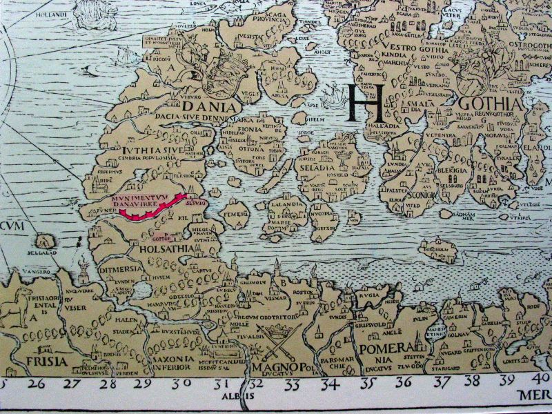 Mapa Danevirke siglo XVI