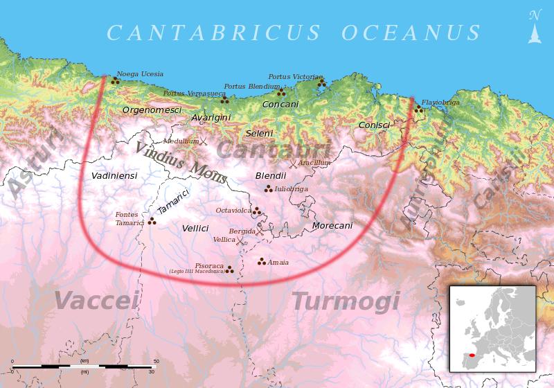 Territorio cántabro durante las guerras cántabras.