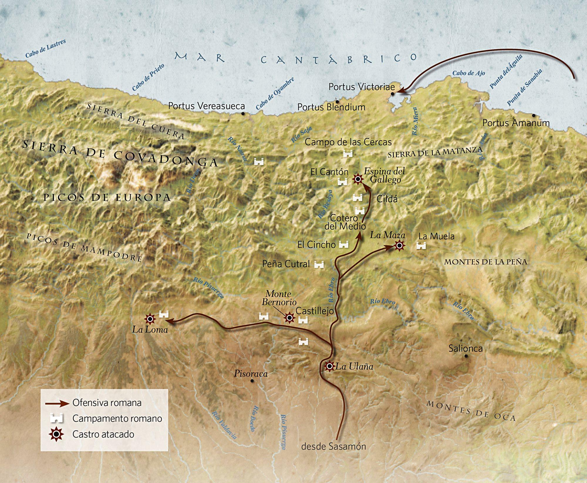 avance por tierra y por mar del ejército romano para invadir territorio cántabro.