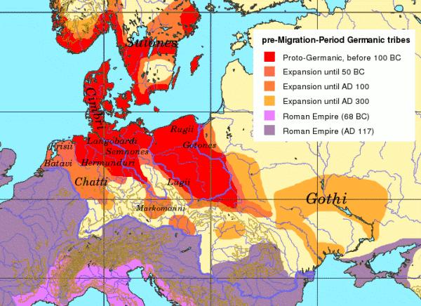 Tribus germanas durante el periodo anterior a las migraciones.