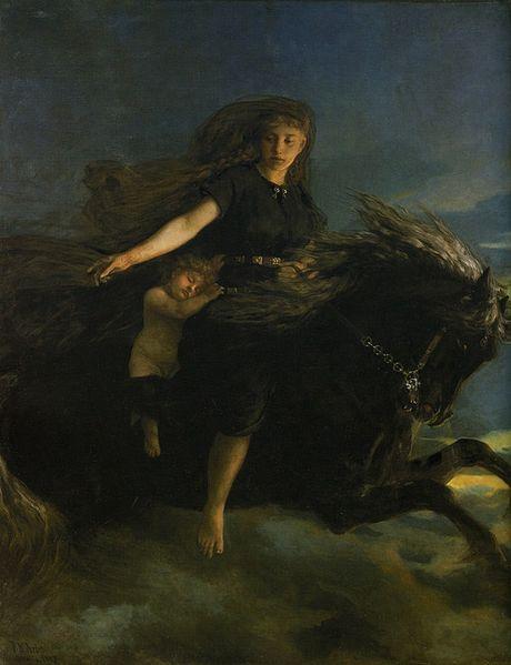 Nótt cabalgando a Hrímfaxi. Imagen de Peter Nicolai Arbo (pintor del XIX)