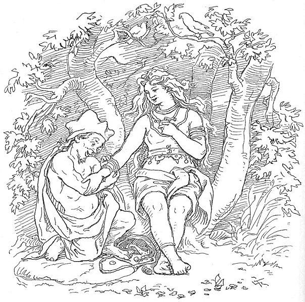 Alvíss y Þrúðr. Ilustración de Lorenz Frølich.