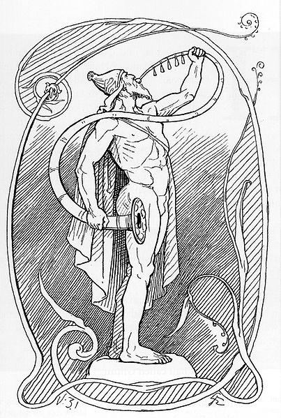 Heimdall com Gjallarhorn ilustración de Lorenz Frølich de 1895.