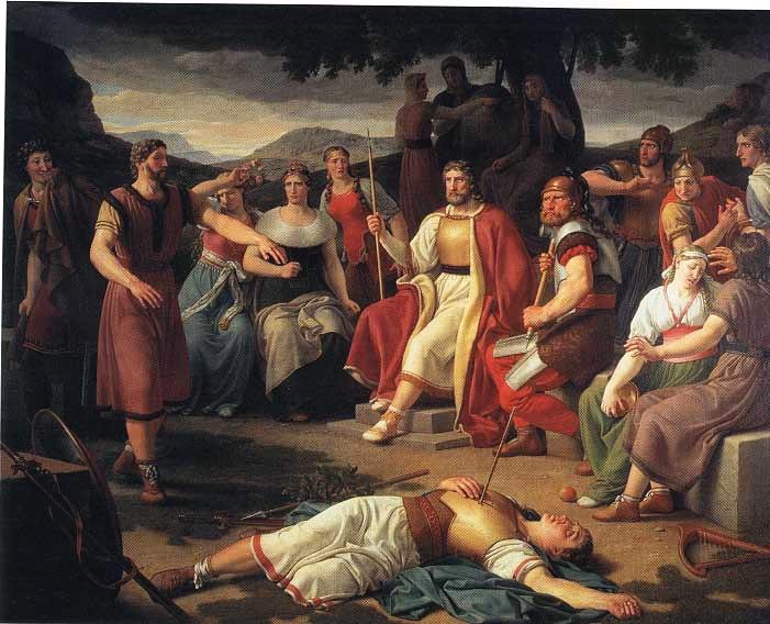 Los Æsir alrededor del cadáver de Baldr, obra de Eckersberg.