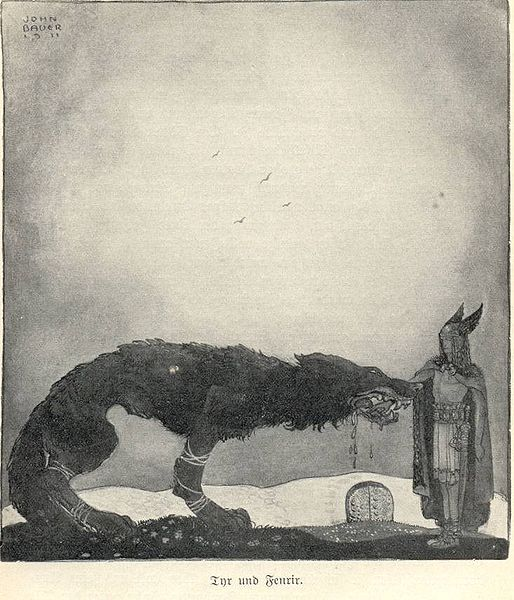 Týr and Fenrir (1911) por John Bauer.