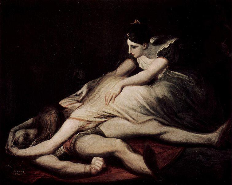 Krimilda llora el cadáver de Sigfrido. Johann Heinrich Füssli. 1817.