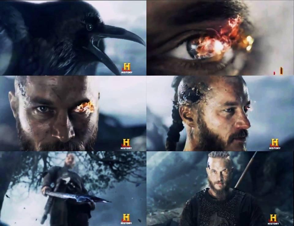 Ragnar como Odín. Podemos apreciar el ojo, el cuervo y la lanza.