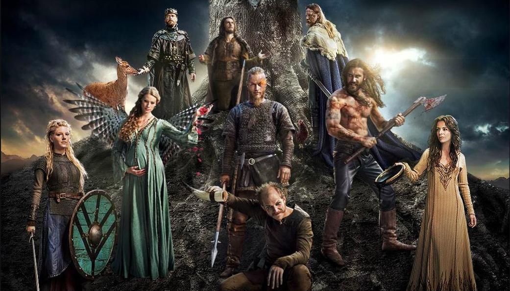 Todos los personajes caracterizados como personajes de la mitología nórdica bajo el Yggdrasil.