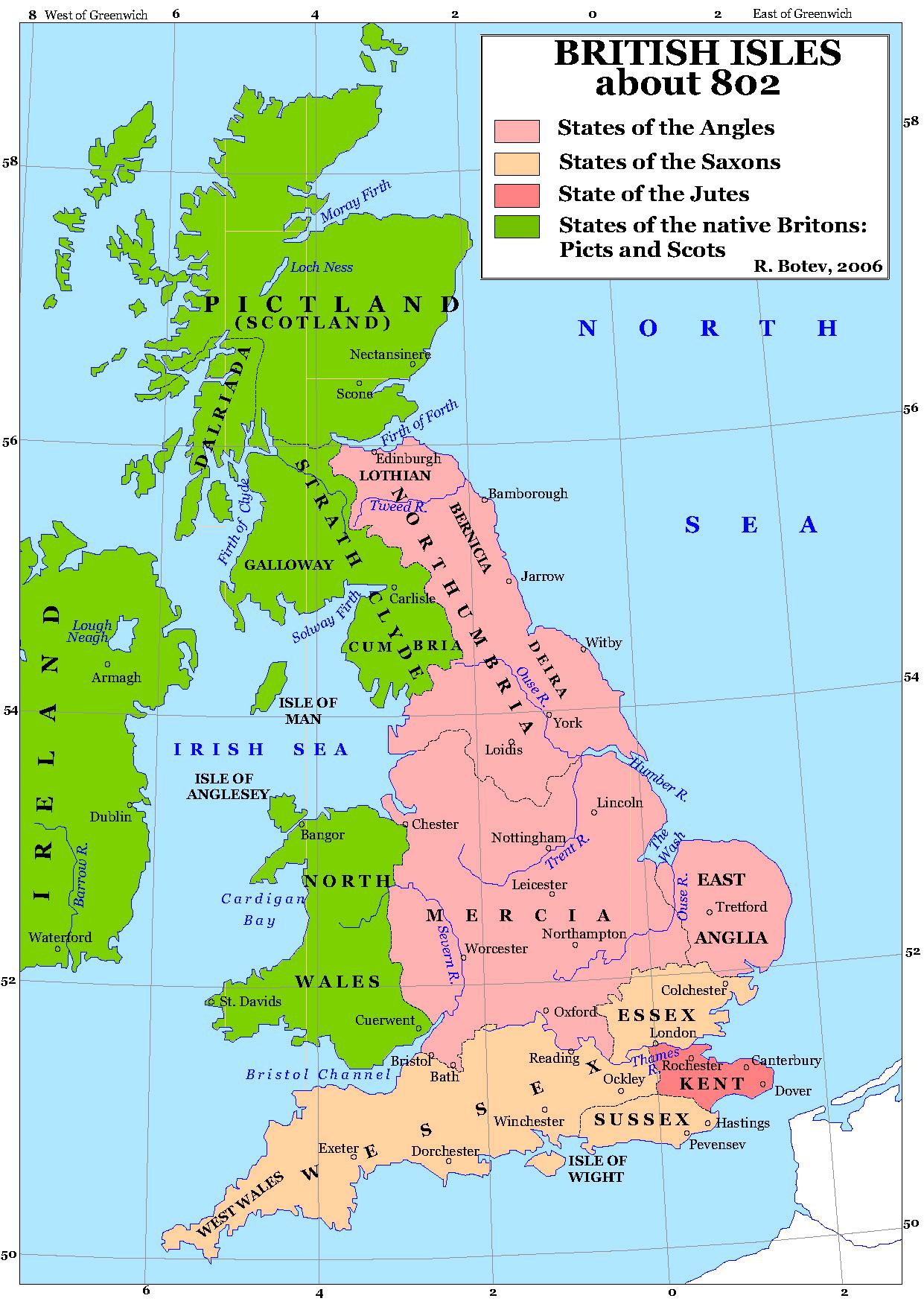 Islas Británicas, hacia el año 802. Heptarquía Anglosajona.