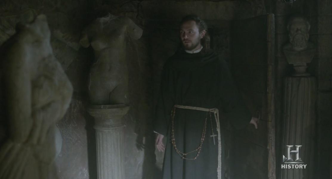 """Athelstan en la sala de los """"tesoros romanos"""" del rey Egberto."""