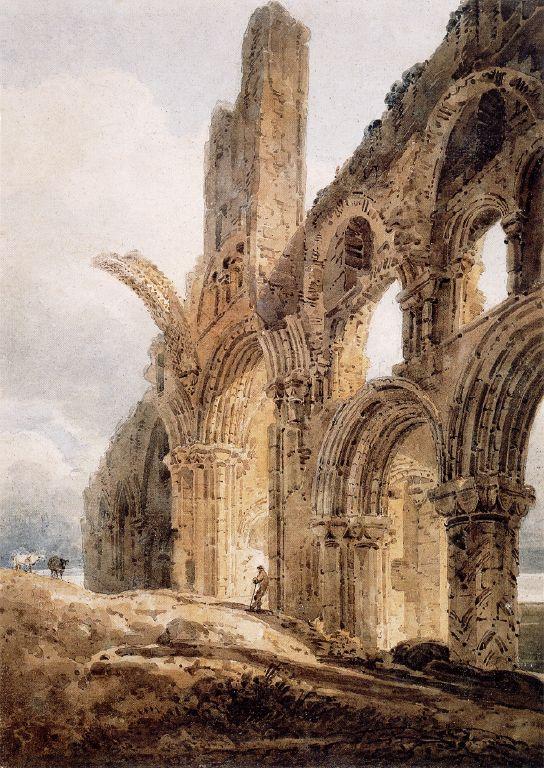 Las Ruinas del Monasterio de Lindisfarne, por Thomas Gritin, 1798.