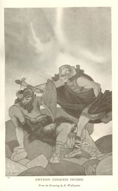 Gwydion mata Pryderi en combate singular. Imagen de E. Wallcousins.