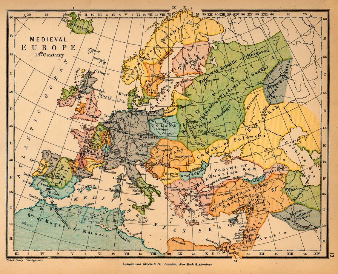 Mapa de Europa en el siglo XIII. Si pincháis lo haréis mucho más grande y podréis ver tanto el Sacro Imperio como la Corona de Castilla.