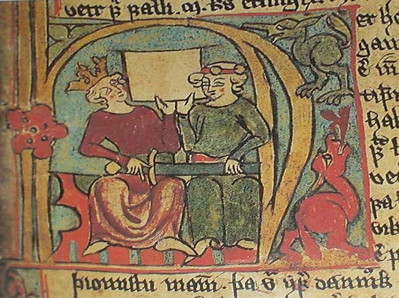 Haakon IV y su hijo, Magnus VI. Ilustración del Flateyjarbók.