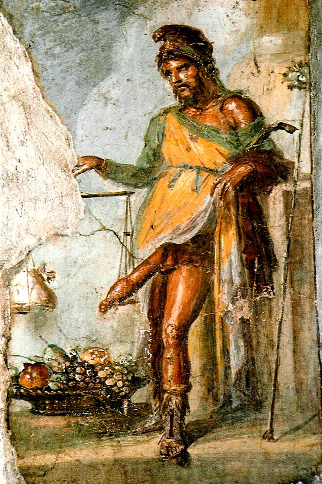 Fresco de Príapo pesando su miembro en una balanza contra la ganancia obtenida de sus campos (casa de los Vettii, Pompeya).