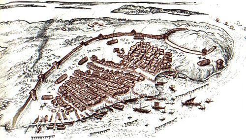Reconstrucción de asentamiento vikingo.