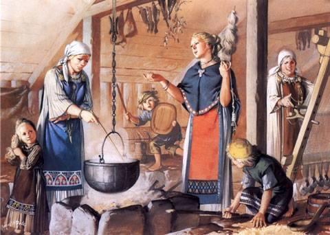 Rcreación cocina vikinga dentro del Gran Salón d euna Granja.