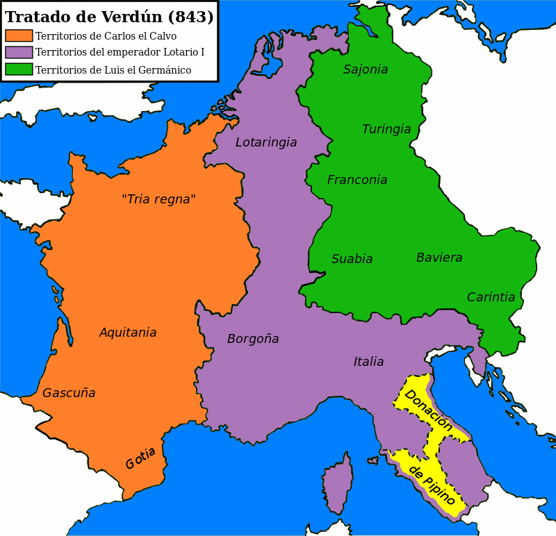 Tratado de Verdún, repartición territorio.