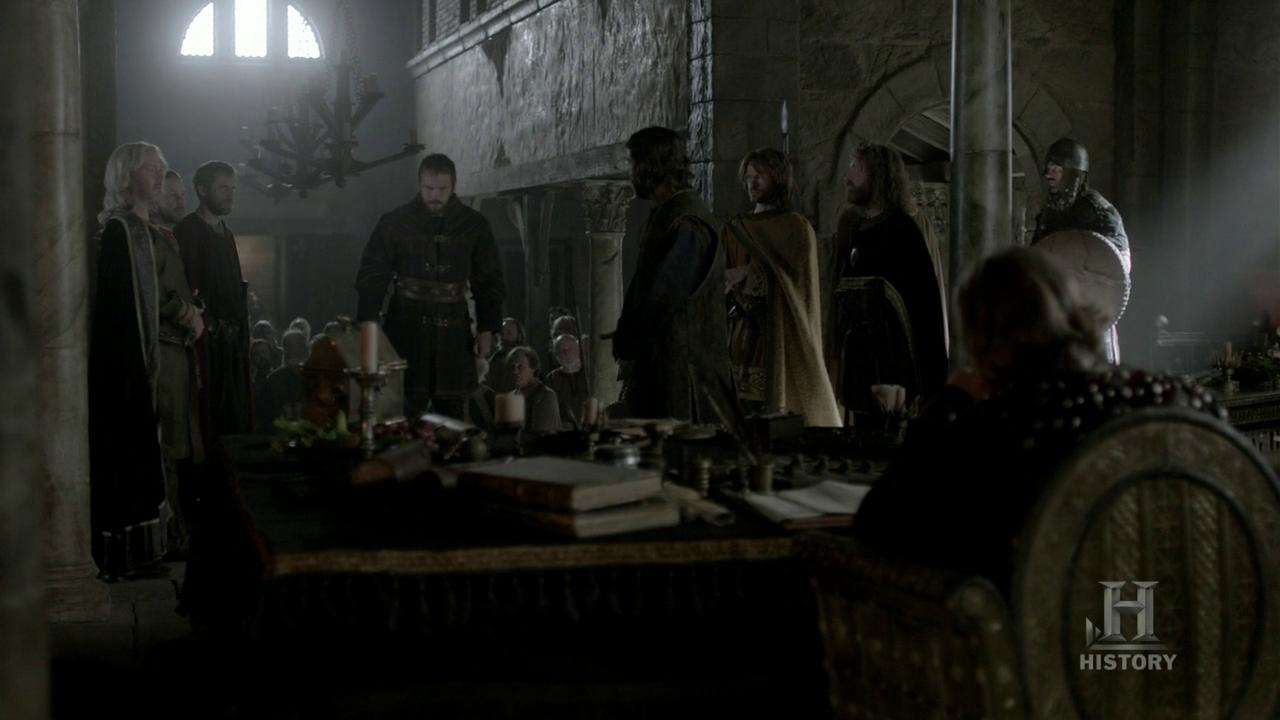 El campesino cuenta lo que ha pasado en el asentamiento vikingo.