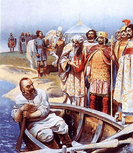 Encuentro entre Sviatoslav y el emperador Juan por Klavdi Lébedev, siguiendo la descripción de Sviatoslav que hizo León el Diácono. 1916