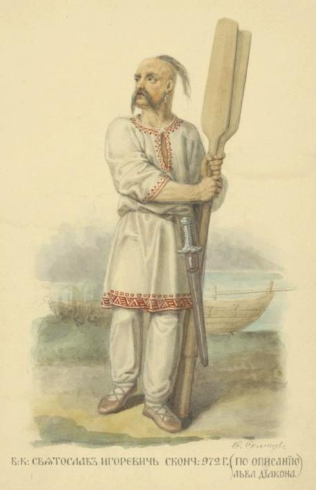 Sviatoslav Ígorevich, príncipe-guerrero (o konung), según Fiódor Sólntsev. 1869