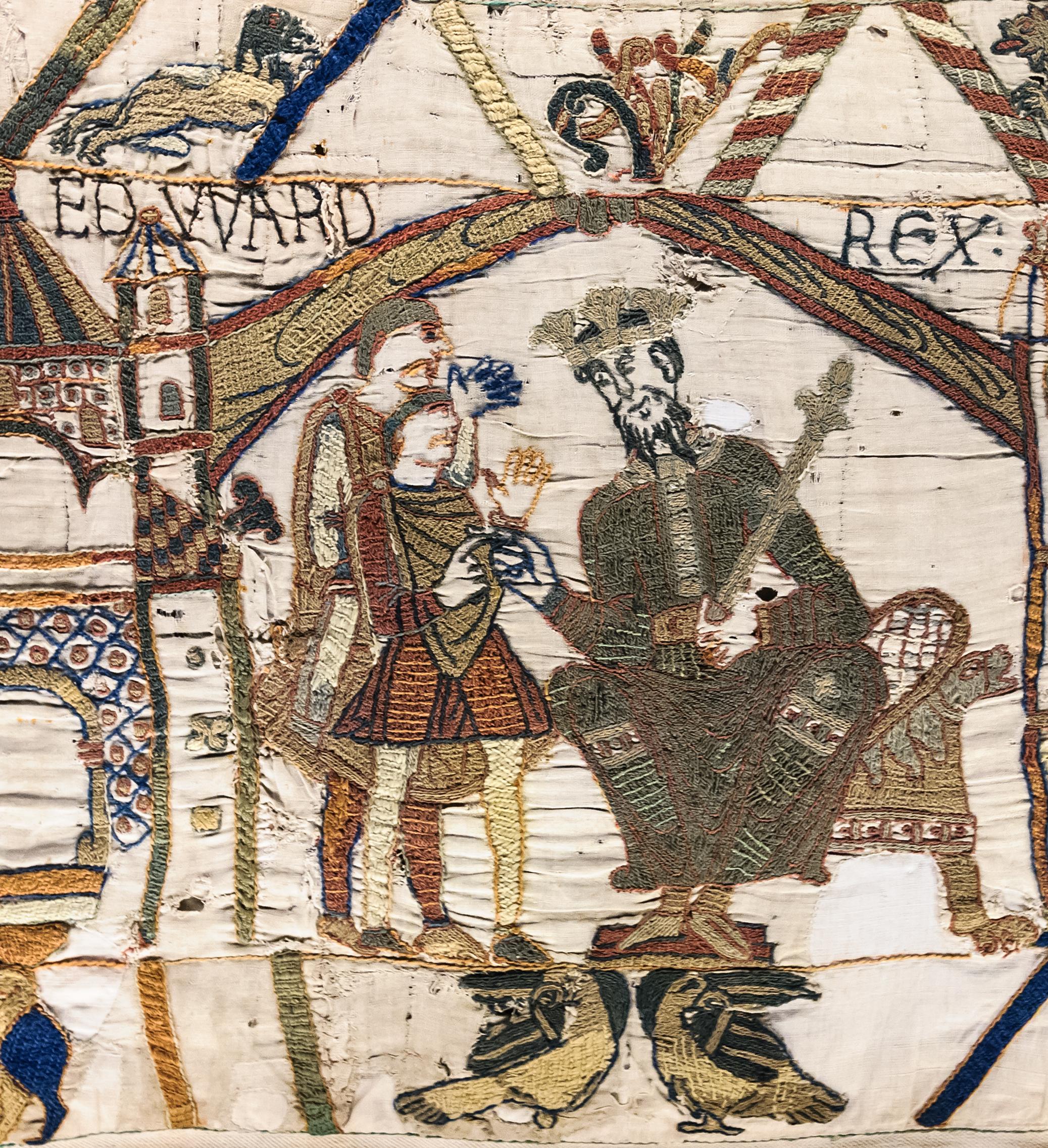 Eduardo el Confesor entronizado, según el Tapiz de Bayeux